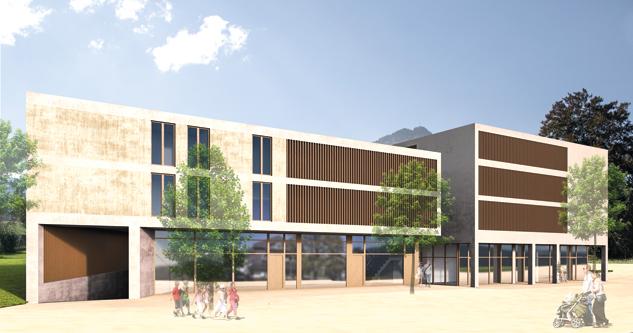 """E-Werke und Raiba geben Ortszentrum mit dem """"Saminapark"""" ein neues Gesicht (Ansichten """"Saminapark"""", Wettbewerbssieger walser + werle architekten zt, Feldkirch, Stand März 2016)"""