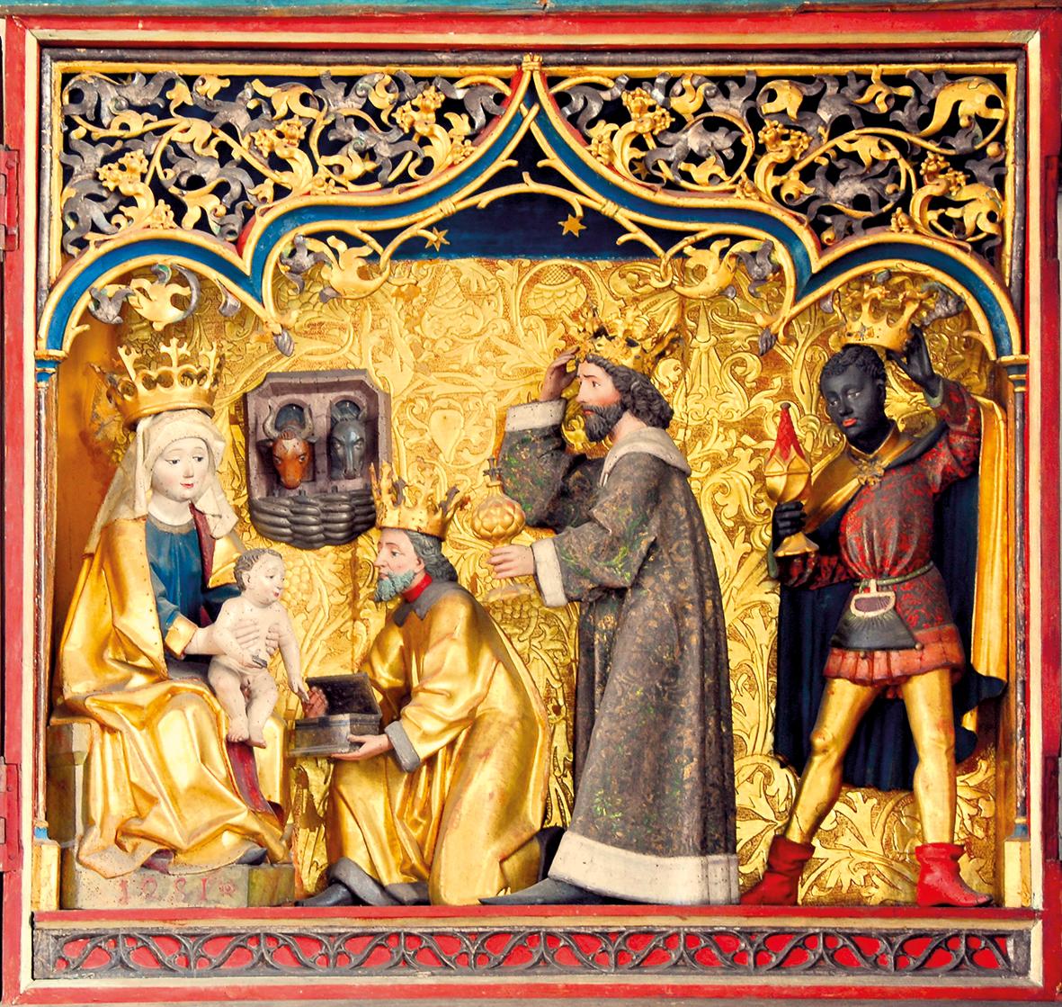 Der Dreikönigsaltar (Detail) ist der kostbarste Schatz der St. Anna-Kapelle.